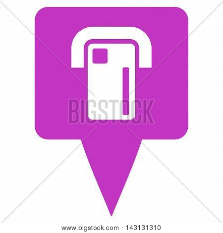 ATM Terminal Map Pointer icon. Vector style is flat iconic symbol with rounded angles, violet color, white background.