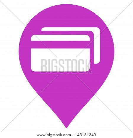 ATM Terminal Pointer icon. Vector style is flat iconic symbol with rounded angles, violet color, white background.