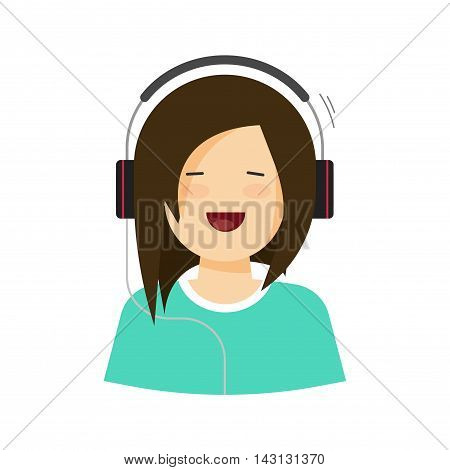 Happy young girl listening music in headphones vector illustration isolated, flat cartoon pretty woman singing song, casual beauty lady in headset with cheerful smiling face