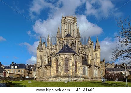 Coutances Cathedral is a Gothic Roman Catholic cathedral constructed from 1210 to 1274 in the town of Coutances Normandy France