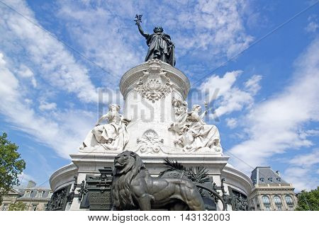Statue of the Republic surrounded by clouds (Paris, France)