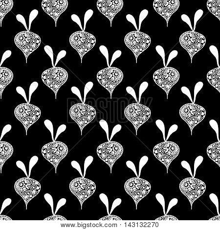 Seamless Oriental Pattern With White Ornamental Radish