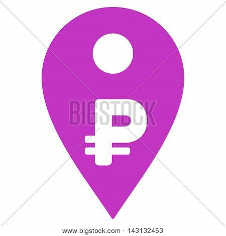 Rouble Map Marker icon. Vector style is flat iconic symbol with rounded angles, violet color, white background.