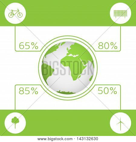 Energy saving technologies. Green earth. Green bicycle. Green tree. Solar energy system. Wind turbine