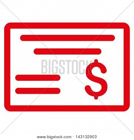 Dollar Cheque icon. Vector style is flat iconic symbol with rounded angles, red color, white background.