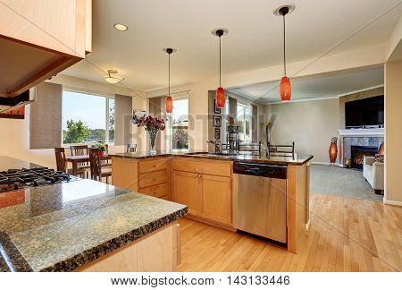 Open Floor Plan. Kitchen Room Interior With Granite Counter Top