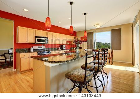 Kitchen Room Interior With Red Wall, Granite Counter Top And Island.