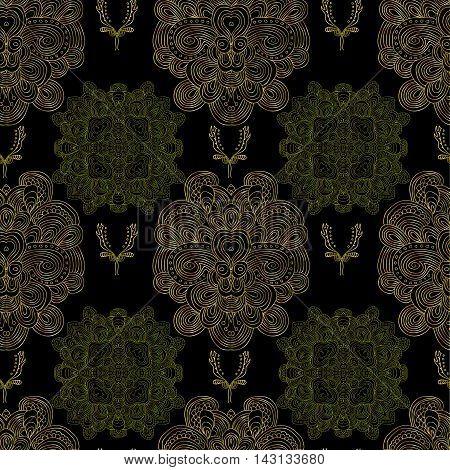 Raster golden pattern with damask elements on black background