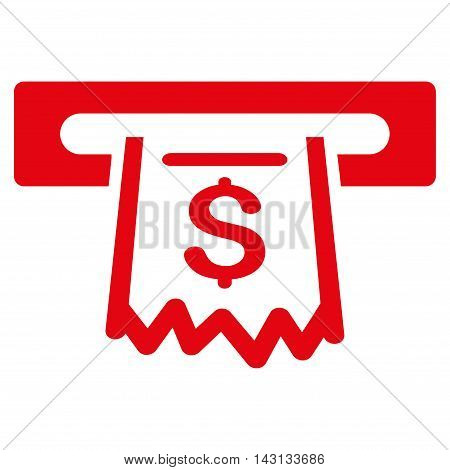 Paper Receipt Terminal icon. Vector style is flat iconic symbol with rounded angles, red color, white background.