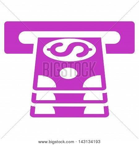 Bank Cashpoint icon. Vector style is flat iconic symbol with rounded angles, violet color, white background.