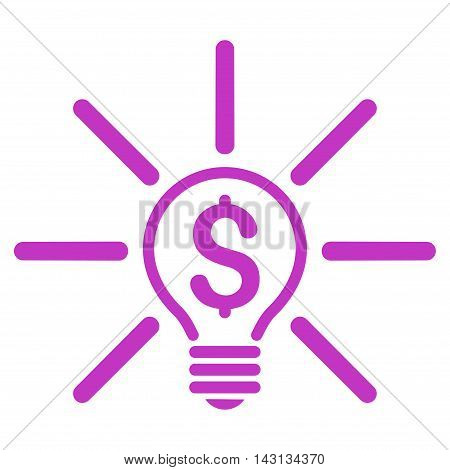 Business Idea Bulb icon. Vector style is flat iconic symbol with rounded angles, violet color, white background.