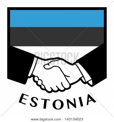 Estonia flag and business handshake, vector illustration