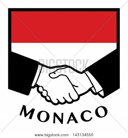 Monaco flag and business handshake, vector illustration