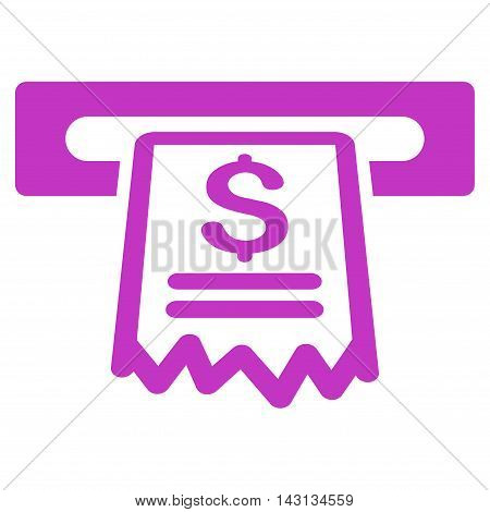 Cashier Receipt icon. Vector style is flat iconic symbol with rounded angles, violet color, white background.