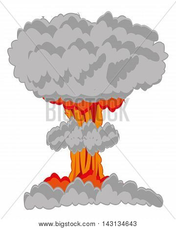 Atomic blast on white background is insulated