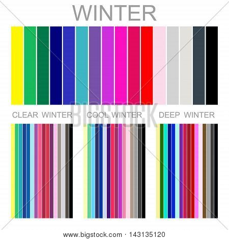 Stock vector seasonal color analysis palette for winter type of female appearance. Set of palettes for clear, cool and deep winter