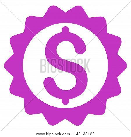 Financial Seal icon. Vector style is flat iconic symbol with rounded angles, violet color, white background.