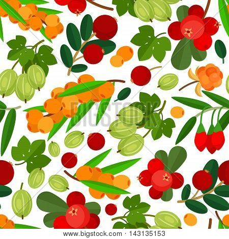 Seamless pattern with branches of yellow sea buckthorn, lingonberries, cranberries and gooseberries