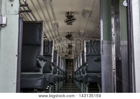 Old Steel chair in train, Background and Texture