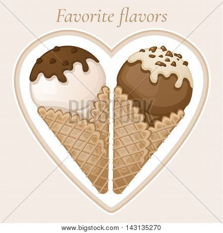 Vanilla and chocolate ice cream with chocolate topping and cream in a waffle cone. Favorite dessert tastes. Sweet tasty ice cream with chocolate sprinkles. Vector colorful illustration.