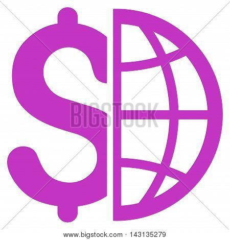 Global Business icon. Vector style is flat iconic symbol with rounded angles, violet color, white background.