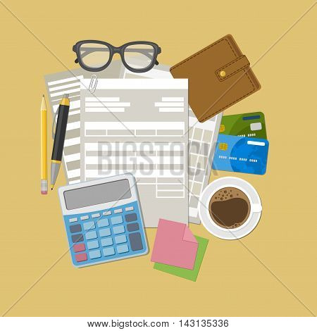 Invoice and tax payment concept. Purse, credit card bank, calculator, pencil, pen, coffee mug, glasses, stickers for notes. Vector illustration.