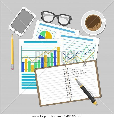 Paper sheets with analytic graphs and charts. Financial Audit Concept, SEO analytics, tax audit, working, management. Smartphone, notebook, sunglasses, pen, coffee cup. Vector illustration.