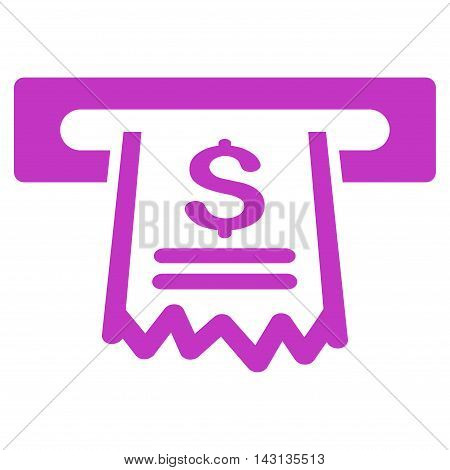 Paper Receipt Machine icon. Vector style is flat iconic symbol with rounded angles, violet color, white background.