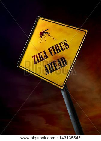 ZIKA virus ahead warning sign over dramatic dark redish sky