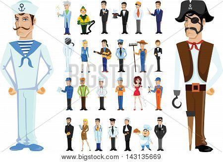 Cartoon vector characters of different professions, sailor and pirate
