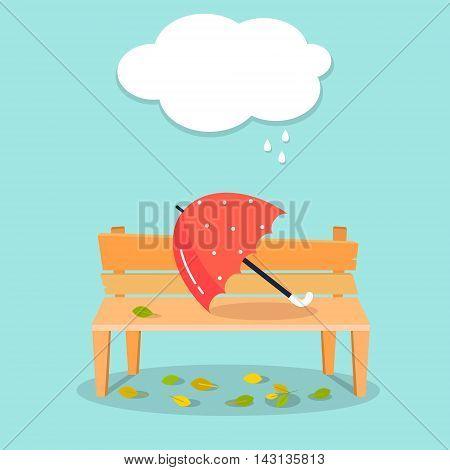Autumn illustration. Umbrella on bench. Autumn vector background