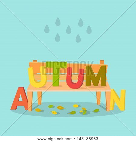 Autumn letters on bench. Autumn vector background