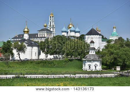 Sergiev Posad, Russia - may 28, 2016: The Cathedral of the Holy Trinity St. Sergius Lavra. The Shrine of all Christians. The center of pilgrimage of the Christian world. Sergiyev Posad is included into the Golden ring of Russia.