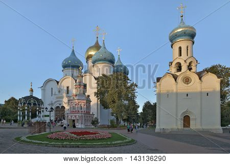 Sergiev Posad, Russia - August 29, 2015: the Cathedral of the Holy Trinity St. Sergius Lavra. The Shrine of all Christians. The center of pilgrimage of the Christian world. Sergiyev Posad is included into the Golden ring of Russia.