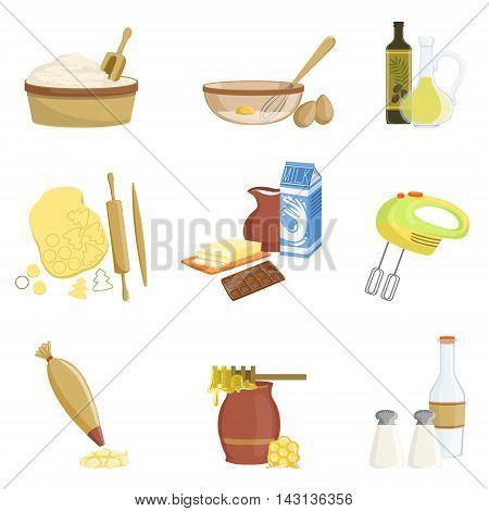 Baking Process And Kitchen Equipment Set Of Isolated Items. Simplified Realistic Flat Vector Drawings On White Background.