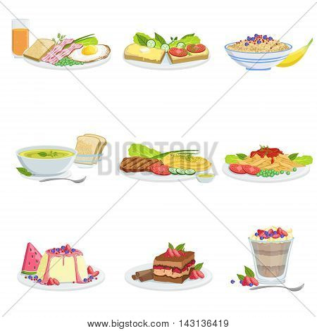 European Cuisine Dish Assortment Menu Items Detailed Illustrations. Set Of Cafe Plates In Realistic Design Drawings.