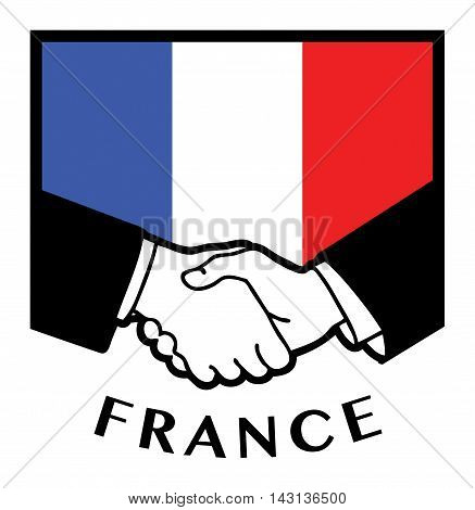 France flag and business handshake, vector illustration