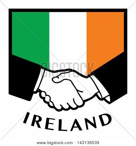 Ireland flag and business handshake, vector illustration