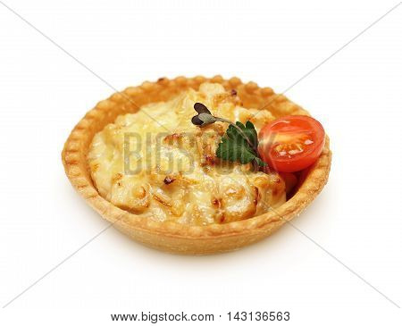 Baked chicken with cheese - canape on white
