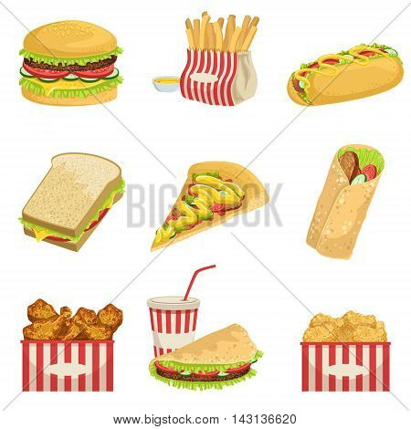 Fast Food Menu Items Realistic Detailed Illustrations. Take Away Lunch Set Of Icons Isolated On White Background.