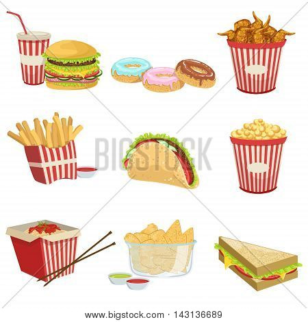 Street Food Menu Items Realistic Detailed Illustrations. Take Away Lunch Set Of Icons Isolated On White Background.