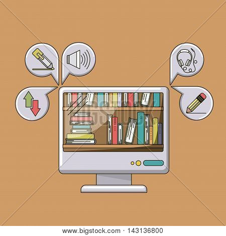e-learning equipment isolated icon vector illustration design
