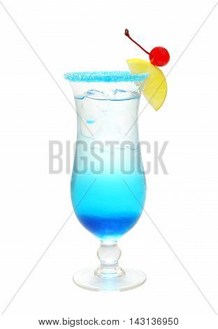 Tasty Blue alcohol cocktail on white background