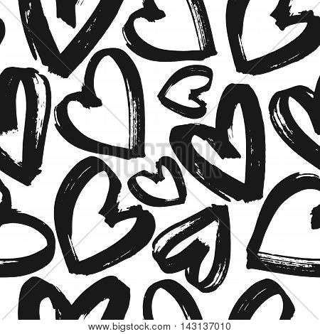 Seamless pattern black and white hearts, monochrome grunge heart background, vector illustration, design for banner, flyer, greeting card, invitation, holiday, wrapping, textile