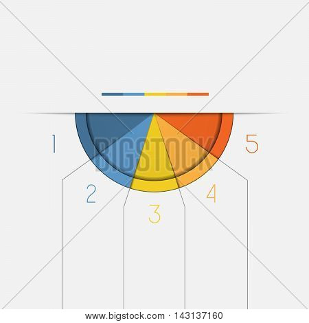 Color Semicircle downwards template for Infographic numbered on 5 positions.