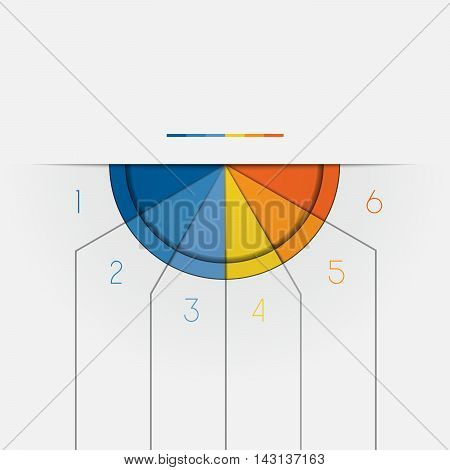 Color Semicircle downwards template for Infographic numbered on 6 positions.