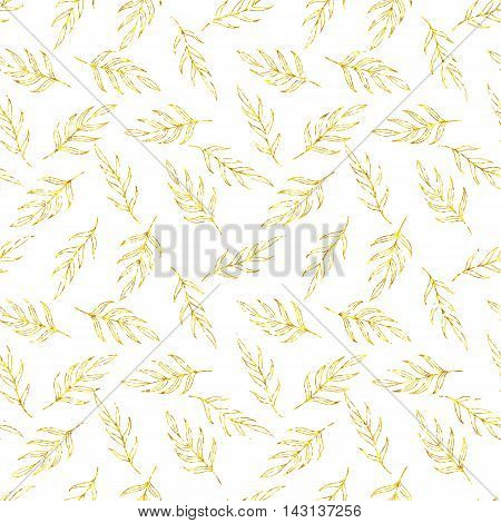 Seamless pattern gold glitter leaves, gold glitter herb pattern, seamless golden background of leaves for card, wedding, birthday, textile, web design, wallpaper, wrapping, holiday, invitation