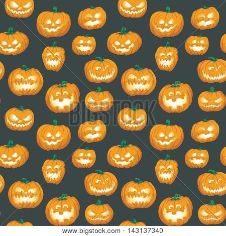 Halloween Pumpkins Seamless Repeating Vector Pattern