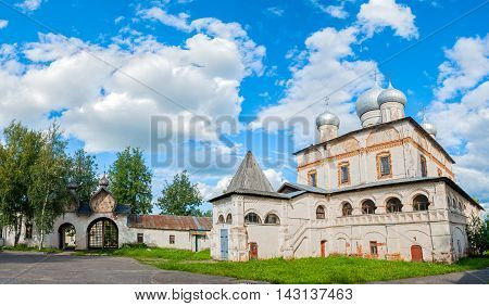 Architecture panoramic view of ancient cathedral of Our Lady of the Sign in Veliky Novgorod Russia. Architecture landscape in summer sunny day. Panorama of architecture landmark in Veliky Novgorod Russia.