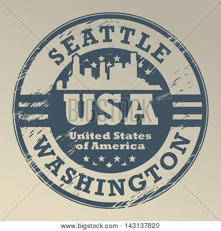 Grunge rubber stamp with name of Washington, Seattle, vector illustration